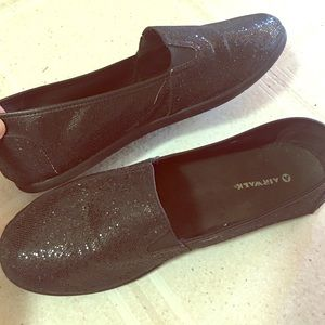 Shoes - Black sparkly glitter women flats/loafers